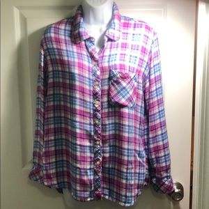 Gap Plaid Long Sleeve Shirt Size Large